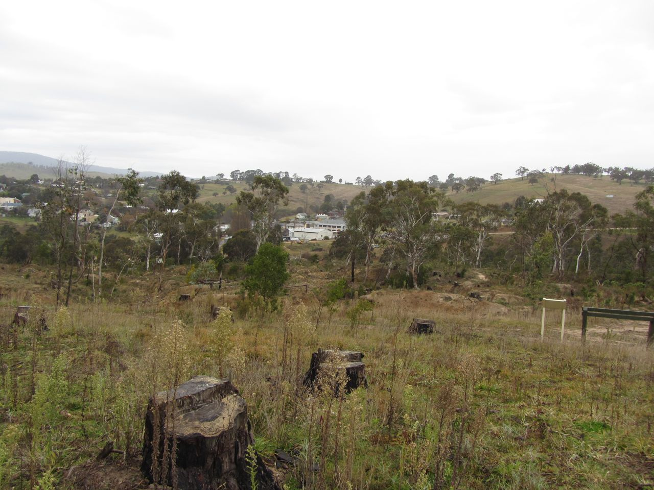 View back to Omeo from hillside across Livingstone Creek.